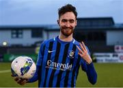 31 October 2020; Dean George of Athlone Town with the match ball after scoring a hat-trick following the Extra.ie FAI Cup Quarter-Final match between Athlone Town and Shelbourne at the Athlone Town Stadium in Athlone, Westmeath. Photo by Harry Murphy/Sportsfile