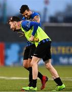 31 October 2020; Dean George, left, and Scott Delaney of Athlone Town celebrate following the Extra.ie FAI Cup Quarter-Final match between Athlone Town and Shelbourne at the Athlone Town Stadium in Athlone, Westmeath. Photo by Harry Murphy/Sportsfile