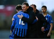 31 October 2020; Athlone Town manager Adrian Carberry and Adam Lennon of Athlone Town embrace during the Extra.ie FAI Cup Quarter-Final match between Athlone Town and Shelbourne at the Athlone Town Stadium in Athlone, Westmeath. Photo by Harry Murphy/Sportsfile