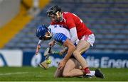 31 October 2020; Conor Prunty of Waterford is tackled by Jack O'Connor of Cork during the Munster GAA Hurling Senior Championship Semi-Final match between Cork and Waterford at Semple Stadium in Thurles, Tipperary. Photo by Brendan Moran/Sportsfile