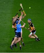 31 October 2020; Conor Burke and Daire Gray of Dublin in action against Walter Walsh of Kilkenny during the Leinster GAA Hurling Senior Championship Semi-Final match between Dublin and Kilkenny at Croke Park in Dublin. Photo by Ramsey Cardy/Sportsfile