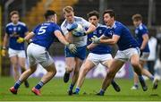 31 October 2020; Ryan McAnespie of Monaghan in action against Cavan players, from left, Gerard Smith, Stephen Smith and Killian Brady during the Ulster GAA Football Senior Championship Preliminary Round match between Monaghan and Cavan at St Tiernach's Park in Clones, Monaghan. Photo by Stephen McCarthy/Sportsfile