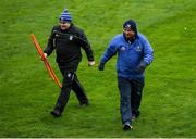 31 October 2020; Monaghan manager Séamus McEnaney, right, and Cavan manager Mickey Graham prior to the Ulster GAA Football Senior Championship Preliminary Round match between Monaghan and Cavan at St Tiernach's Park in Clones, Monaghan. Photo by Stephen McCarthy/Sportsfile