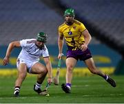 31 October 2020; Fintan Burke of Galway in action against Matthew O'Hanlon of Wexford during the Leinster GAA Hurling Senior Championship Semi-Final match between Galway and Wexford at Croke Park in Dublin. Photo by Ray McManus/Sportsfile