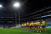 31 October 2020; The Wexford team during the National Anthem ahead of the Leinster GAA Hurling Senior Championship Semi-Final match between Galway and Wexford at Croke Park in Dublin. Photo by Ramsey Cardy/Sportsfile