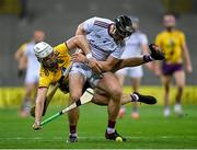 31 October 2020; Aidan Harte of Galway in action against Rory O'Connor of Wexford during the Leinster GAA Hurling Senior Championship Semi-Final match between Galway and Wexford at Croke Park in Dublin. Photo by Ramsey Cardy/Sportsfile
