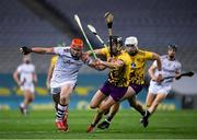 31 October 2020; Conor Whelan of Galway in action against Joe O'Connor and Conor McDonald of Wexford, right, during the Leinster GAA Hurling Senior Championship Semi-Final match between Galway and Wexford at Croke Park in Dublin. Photo by Ray McManus/Sportsfile
