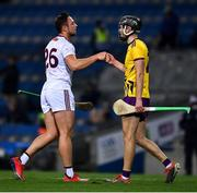 31 October 2020; Niall Burke of Galway, left, and Shaun Murphy of Wexford after the Leinster GAA Hurling Senior Championship Semi-Final match between Galway and Wexford at Croke Park in Dublin. Photo by Ray McManus/Sportsfile