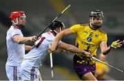 31 October 2020; Jack O'Connor of Wexford in action against Joe Canning, left, and Sean Linnane of Galway during the Leinster GAA Hurling Senior Championship Semi-Final match between Galway and Wexford at Croke Park in Dublin. Photo by Ramsey Cardy/Sportsfile