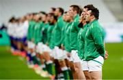 31 October 2020; Cian Healy of Ireland, on the occasion of earning his 100th cap for Ireland, stands for the national anthems prior to the Guinness Six Nations Rugby Championship match between France and Ireland at Stade de France in Paris, France. Photo by Sportsfile