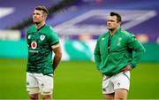 31 October 2020; Peter O'Mahony, left, and Cian Healy of Ireland stand for the national anthems prior to the Guinness Six Nations Rugby Championship match between France and Ireland at Stade de France in Paris, France. Photo by Sportsfile