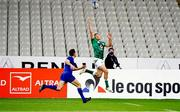 31 October 2020; Hugo Keenan of Ireland attempts to collect a kick from team-mate Jonathan Sexton next to the try line as Anthony Bouthier of France closes on during the Guinness Six Nations Rugby Championship match between France and Ireland at Stade de France in Paris, France. Photo by Sportsfile
