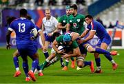 31 October 2020; Tadhg Beirne of Ireland is tackled Charles Ollivon of France during the Guinness Six Nations Rugby Championship match between France and Ireland at Stade de France in Paris, France. Photo by Sportsfile