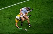 31 October 2020; Aidan Harte of Galway in action against Rory O'Connor of Wexford during the Leinster GAA Hurling Senior Championship Semi-Final match between Galway and Wexford at Croke Park in Dublin. Photo by Daire Brennan/Sportsfile