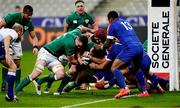 31 October 2020; Cian Healy of Ireland, with the help of team-mate James Ryan, on the way to scoring his side's first try during the Guinness Six Nations Rugby Championship match between France and Ireland at Stade de France in Paris, France. Photo by Sportsfile