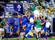 31 October 2020; James Ryan of Ireland collects a restart during the Guinness Six Nations Rugby Championship match between France and Ireland at Stade de France in Paris, France. Photo by Sandra Ruhaut/Sportsfile