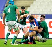 31 October 2020; Jonathan Sexton, left, and James Ryan of Ireland tackles Antoine Dupont of France during the Guinness Six Nations Rugby Championship match between France and Ireland at Stade de France in Paris, France. Photo by Sandra Ruhaut/Sportsfile