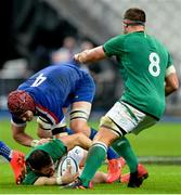 31 October 2020; Robbie Henshaw of Ireland is tackled by Bernard le Roux of France during the Guinness Six Nations Rugby Championship match between France and Ireland at Stade de France in Paris, France. Photo by Sandra Ruhaut/Sportsfile
