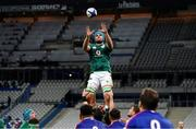 31 October 2020; Tadhg Beirne of Ireland takes the all in a lineout during the Guinness Six Nations Rugby Championship match between France and Ireland at Stade de France in Paris, France. Photo by Sportsfile