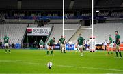 31 October 2020; Ireland players, from left, Tadhg Beirne, Cian Healy, CJ Stander, Rob Herring, Robbie Henshaw and James Ryan wait for Romain N'Tamack of France to convert his side's third try during the Guinness Six Nations Rugby Championship match between France and Ireland at Stade de France in Paris, France. Photo by Sportsfile
