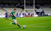 31 October 2020; Ireland captain Jonathan Sexton kicks a conversion during the Guinness Six Nations Rugby Championship match between France and Ireland at Stade de France in Paris, France. Photo by Sportsfile