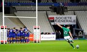 31 October 2020; Ross Byrne of Ireland kicks a conversion after the Guinness Six Nations Rugby Championship match between France and Ireland at Stade de France in Paris, France. Photo by Sportsfile