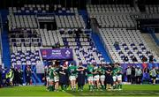 31 October 2020; The Ireland team huddle after the Guinness Six Nations Rugby Championship match between France and Ireland at Stade de France in Paris, France. Photo by Sportsfile
