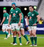 31 October 2020; Tadhg Beirne, left, and Cian Healy of Ireland during the Guinness Six Nations Rugby Championship match between France and Ireland at Stade de France in Paris, France. Photo by Sportsfile