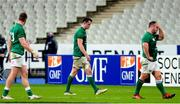 31 October 2020; Ireland players, from left, Chris Farrell, James Ryan and Ed Byrne after the Guinness Six Nations Rugby Championship match between France and Ireland at Stade de France in Paris, France. Photo by Sandra Ruhaut/Sportsfile