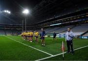 31 October 2020; Wexford manager Davy Fitzgerald with his team during the National Anthem ahead of the Leinster GAA Hurling Senior Championship Semi-Final match between Galway and Wexford at Croke Park in Dublin. Photo by Ramsey Cardy/Sportsfile