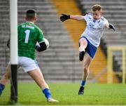 31 October 2020; Ryan McAnespie of Monaghan has a shot on goal saved by Cavan goalkeeper Raymond Galligan during the Ulster GAA Football Senior Championship Preliminary Round match between Monaghan and Cavan at St Tiernach's Park in Clones, Monaghan. Photo by Stephen McCarthy/Sportsfile