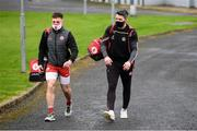 1 November 2020; Liam Rafferty, left and Matthew Donnelly of Tyrone arrive prior to the Ulster GAA Football Senior Championship Quarter-Final match between Donegal and Tyrone at MacCumhaill Park in Ballybofey, Donegal. Photo by Stephen McCarthy/Sportsfile