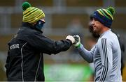 1 November 2020; Donegal manager Declan Bonner and Paul Brennan of Donegal fist bump prior to the Ulster GAA Football Senior Championship Quarter-Final match between Donegal and Tyrone at Pairc MacCumhaill in Ballybofey, Donegal. Photo by Harry Murphy/Sportsfile