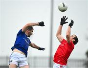 1 November 2020; Bevan Duffy of Louth in action against Kevin Diffley of Longford during the Leinster GAA Football Senior Championship Round 1 match between Louth and Longford at TEG Cusack Park in Mullingar, Westmeath. Photo by Eóin Noonan/Sportsfile