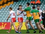 1 November 2020; Michael Langan of Donegal tussles with Conor Meyler of Tyrone during the Ulster GAA Football Senior Championship Quarter-Final match between Donegal and Tyrone at Pairc MacCumhaill in Ballybofey, Donegal. Photo by Harry Murphy/Sportsfile