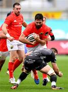 1 November 2020; Jean Kleyn of Munster is tackled by Harrison Keddie of Dragons during the Guinness PRO14 match between Dragons and Munster at Rodney Parade in Newport, Wales. Photo by Ben Evans/Sportsfile