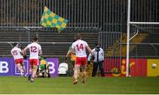 1 November 2020; Darragh Canavan of Tyrone, 15, scores his side's first goal during the Ulster GAA Football Senior Championship Quarter-Final match between Donegal and Tyrone at MacCumhaill Park in Ballybofey, Donegal. Photo by Stephen McCarthy/Sportsfile