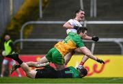 1 November 2020; Darragh Canavan of Tyrone celebrates after scoring his side's first goal as Eoghan Bán Gallagher and Shaun Patton of Donegal look on during the Ulster GAA Football Senior Championship Quarter-Final match between Donegal and Tyrone at Pairc MacCumhaill in Ballybofey, Donegal. Photo by Harry Murphy/Sportsfile