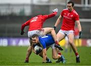 1 November 2020; Darragh Doherty of Longford in action against Dan Corcoran of Louth during the Leinster GAA Football Senior Championship Round 1 match between Louth and Longford at TEG Cusack Park in Mullingar, Westmeath. Photo by Eóin Noonan/Sportsfile