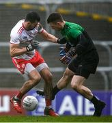 1 November 2020; Conor McKenna of Tyrone in action against Shaun Patton of Donegal during the Ulster GAA Football Senior Championship Quarter-Final match between Donegal and Tyrone at Pairc MacCumhaill in Ballybofey, Donegal. Photo by Harry Murphy/Sportsfile