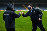 1 November 2020; Clare manager Colm Collins, left, and Tipperary manager David Power bump fists after the Munster GAA Football Senior Championship Quarter-Final match between Tipperary and Clare at Semple Stadium in Thurles, Tipperary. Photo by Diarmuid Greene/Sportsfile