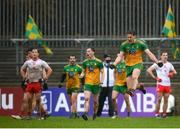 1 November 2020; Hugh McFadden of Donegal celebrates at the final whistle of the Ulster GAA Football Senior Championship Quarter-Final match between Donegal and Tyrone at MacCumhaill Park in Ballybofey, Donegal. Photo by Stephen McCarthy/Sportsfile
