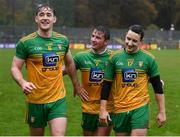 1 November 2020; Donegal players, from left, Hugh McFadden, Peadar Mogan and Eoin McHugh following the Ulster GAA Football Senior Championship Quarter-Final match between Donegal and Tyrone at MacCumhaill Park in Ballybofey, Donegal. Photo by Stephen McCarthy/Sportsfile