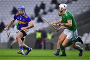 1 November 2020; John McGrath of Tipperary in action against Kyle Hayes and Sean Finn of Limerick during the Munster GAA Hurling Senior Championship Semi-Final match between Tipperary and Limerick at Páirc Uí Chaoimh in Cork. Photo by Ray McManus/Sportsfile