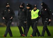 1 November 2020; The Armagh backroom staff with manager Kieran McGeeney, centre, at half time during the Ulster GAA Football Senior Championship Quarter-Final match between Derry and Armagh at Celtic Park in Derry. Photo by David Fitzgerald/Sportsfile