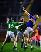 1 November 2020; Ronan Maher of Tipperary in action against Peter Casey, right, and Graeme Mulcahy of Limerick during the Munster GAA Hurling Senior Championship Semi-Final match between Tipperary and Limerick at Páirc Uí Chaoimh in Cork. Photo by Daire Brennan/Sportsfile