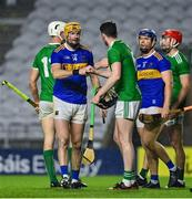 1 November 2020; Tipperary captain Séamus Callanan fist bumps Limerick captain Declan Hannon after the Munster GAA Hurling Senior Championship Semi-Final match between Tipperary and Limerick at Páirc Uí Chaoimh in Cork. Photo by Brendan Moran/Sportsfile