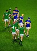 1 November 2020; The Limerick and Tipperary teams greet each other after the Munster GAA Hurling Senior Championship Semi-Final match between Tipperary and Limerick at Páirc Uí Chaoimh in Cork. Photo by Daire Brennan/Sportsfile