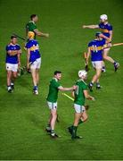 1 November 2020; Declan Hannon of Limerick celebrates with team-mate Kyle Hayes after the Munster GAA Hurling Senior Championship Semi-Final match between Tipperary and Limerick at Páirc Uí Chaoimh in Cork. Photo by Daire Brennan/Sportsfile