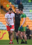 1 November 2020; Referee Joe Mc Quillan issues yellow cards to Conor McKenna of Tyrone and Jeaic McKelvey of Donegal during the Ulster GAA Football Senior Championship Quarter-Final match between Donegal and Tyrone at MacCumhaill Park in Ballybofey, Donegal. Photo by Stephen McCarthy/Sportsfile